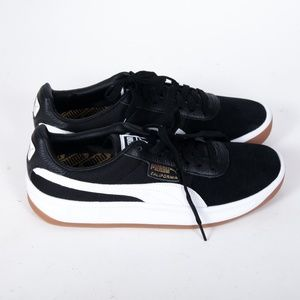 NEW Puma California Black Suede Low Top Sneakers